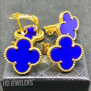 Jewelry - Blue Four Leaf Clover Flower 18KGold Stud Earrings